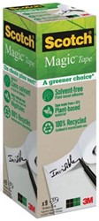 "Plakband Magic  Tape A greener choice"""" ft 19 mm x 33 m, toren met 9 rollen"""""