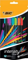 Bic fineliner Intensity, blister met 12 stuks in geassorteerde kleuren