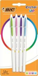 Bic balpen Cristal Up Fun, blister van 4 stuks in geassorteerde kleuren
