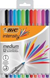 Bic fineliner Intensity, medium, etui van 12 stuks in geassorteerde kleuren