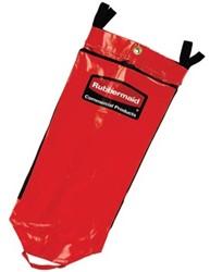 Rubbermaid Reinigingswagen driedubbele capaciteit vinyl recyclagezak, rood