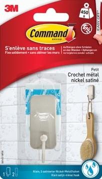 Command badkamerhaak klein waterbestendig uit nikkel