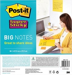 Post-it Super Sticky Big Notes, ft 28 cm x 28 cm, blok van 30 vel, geel