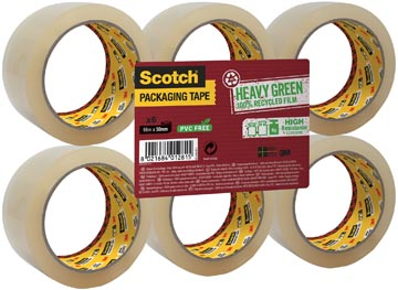 Scotch verpakkingsplakband A Greener Choice ft 50 mm x 66 m, transparant, pak van 6 stuks