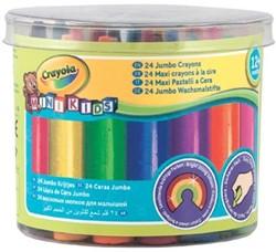 Crayola Mini Kids waskrijtjes Jumbo, plastic pot met 24 stuks in geassorteerde kleuren