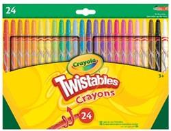 Crayola waskrijtjes Twist, ophangdoosje met 24 stuks in geassorteerde kleuren