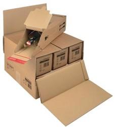 Flesverpakking voor 6 flessen 37,5 x 36,5 x 25 cm bruin pk/15