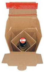 Flesverpakking  voor 1 fles 7,4 x 7,4 x 30,5 cm bruin pk/10