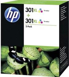 HP 301XL cartridge D8J46AE  high capacity kleur inhoud 6 ml pak van 2 stuks