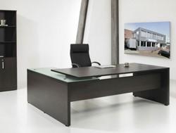 Directie hoekbureau Darkwood XTR 230x172cm met glazen topblad