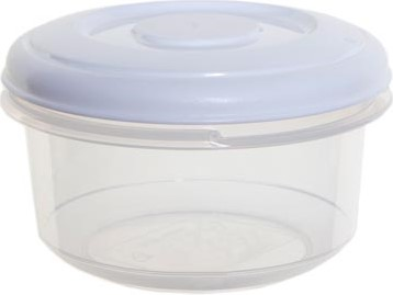 Whitefurze vershouddoos rond 0,1 liter, transparant met wit deksel