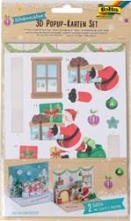 Folia 3D pop up kaart Kerstmis, blister met 2 stuks