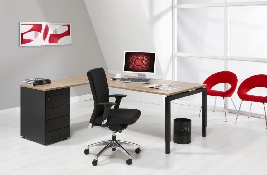 Hoekbureau 180x160cm met rechte hoek quad4 bij pro office for Ladeblok hangmappen
