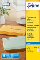 AVERY transparante etiketten 63,5 x 38,1mm 21 etiketten per vel