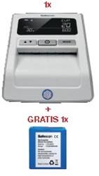 Actie Safescan: 1 x valsgelddetector 155S, grijs + 1 x oplaadbare batterij LB-105 GRATIS