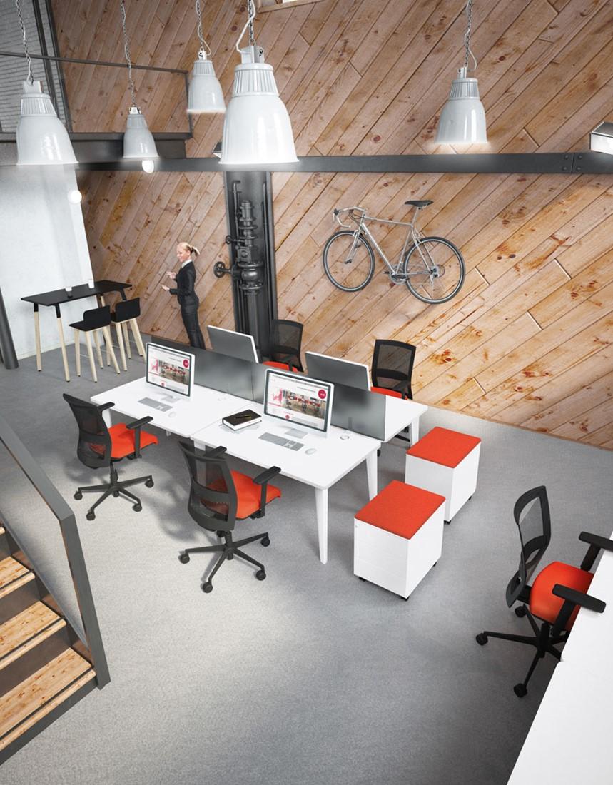 bench werkplek 4line voor 4 werkplekken aluminium. Black Bedroom Furniture Sets. Home Design Ideas