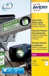 AVERY weerbestendige etiketten ft 210 x 297 mm, 20 stuks, 1 per blad