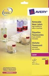 AVERY Afneembare neon etiketten ft 63,5 x 29,6 mm, doos van 20 blad, 540 stuks, rood