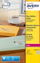 AVERY mini-etiketten ft 38,1 x 21,2 mm, 1.625 stuks, doos van 25 blad, transparant, voor laserprinters