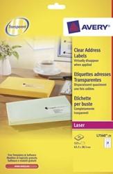 AVERY transparante etiketten QuickPEEL ft 63,5 x 38,1 mm, 525 stuks, 21 per blad