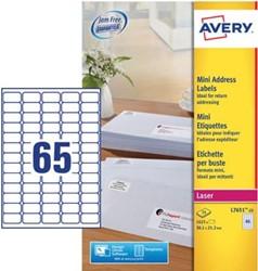 AVERY mini-etiketten ft 38,1 x 21,2 mm, 1.625 stuks, doos van 25 blad, wit, voor inkjetprinters
