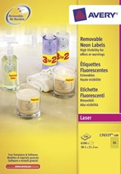 AVERY Afneembare neon etiketten ft 38,1 x 21,2 mm, doos van 100 blad, 6.500 stuks, geel