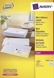 AVERY mini-etiketten ft 38,1 x 21,2 mm, 6.500 stuks, doos van 100 blad, wit, voor laserprinters