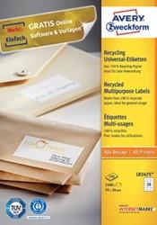 AVERY gerecycleerde etiketten ft 70 x 36 mm, 2.400 stuks, 24 per blad