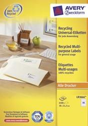 AVERY gerecycleerde etiketten ft 38 x 21,2 mm, 6.500 stuks, 65 per blad