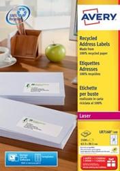 AVERY gerecycleerde laseretiketten QuickPEEL ft 63,5 x 38,1 mm, 2.100 stuks, 21 per blad