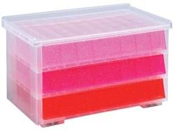 Juwelendoos kind roze met glitters 3 laadjes