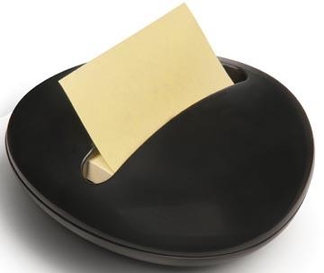 Z-Notes dispenser keivormig zwarte dispenser met 1 blok gele memoblaadjes