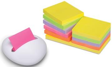 Z-Notes dispenser keivormig witte dispenser met 12 blokken gekleurde memoblaadjes