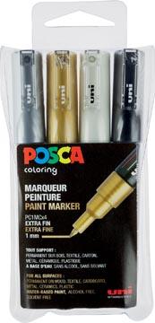 Posca paintmarker PC-1MC, etui met 4 stuks in geassorteerde metallic kleuren