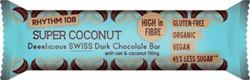 Rhythm 108 biologische chocoladereep Super Coconut Dark Chocolate, pak van 15 stuks