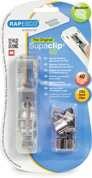 Rapesco Supaclip 40 doorzichtige dispenser, op blister met 25 klemmen uit roestvrij staal