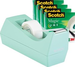 Scotch plakbandafroller munt + 4 rollen Scotch Magic tape