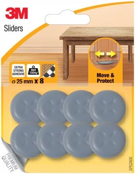 3M Sliders, Move & Protect, diameter van 25 mm, blister van 8 stuks