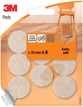3M viltglijder voor stoelen diameter 25 mm blister van 8 stuks