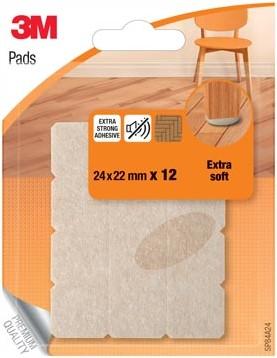 3M Viltjes, Extra soft, ft 24 x 22 mm, blister van 12 stuks