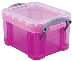 Opbergdoos 0,14 liter hel roze gekleurde transparante Really Useful Box