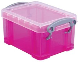 Opbergdoos 0,3 liter hel roze gekleurde transparante Really Useful Box