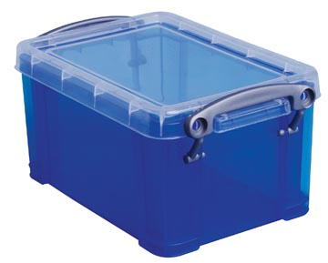 Opbergdoos 0,7 liter blauwe transparante Really Useful Box
