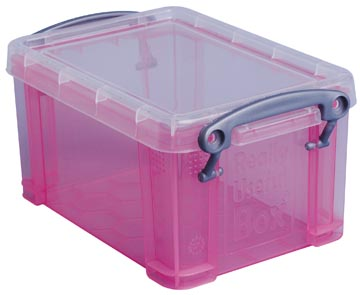 Opbergdoos 0,7 liter roze transparante Really Useful Box