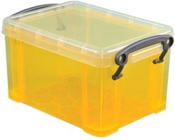 Opbergdoos 0,7 liter gele transparante Really Useful Box