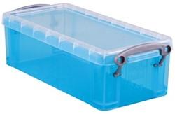 Opbergdoos 0,9 liter hel blauw gekleurde transparante Really Useful Box