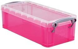 Opbergdoos 0,9 liter hel roze gekleurde transparante Really Useful Box