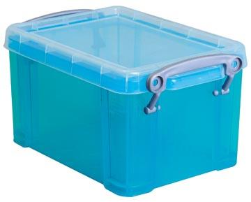 Opbergdoos 1,6 liter hel blauw gekleurde transparante Really Useful Box