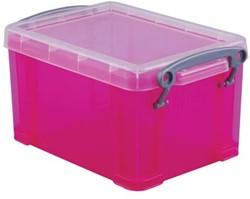 Opbergdoos 1,6 liter hel roze gekleurde transparante Really Useful Box