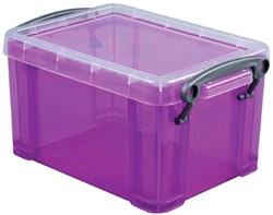 Opbergdoos 1,6 liter paars gekleurde transparante Really Useful Box